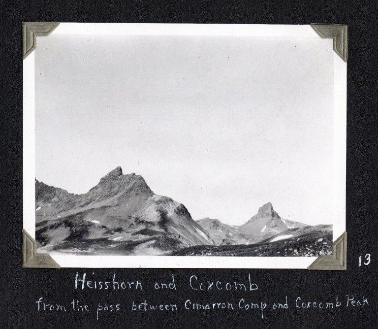 Heisshorn and Coxcomb Peaks from the pass between Cimarron Ridge and Coxcomb Peak