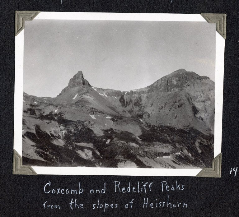 Coxcomb Peak and Redcliff Peak from the slopes of Heisshorn