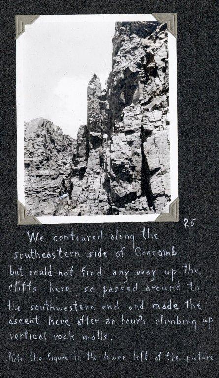 Difficult climb up verticle walls of Coxcomb Peak