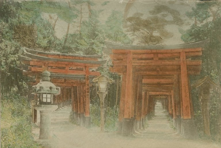 Temple with rows of torii in Japan.