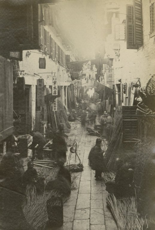 Picture of street in Chinese quarter of Hong Kong.