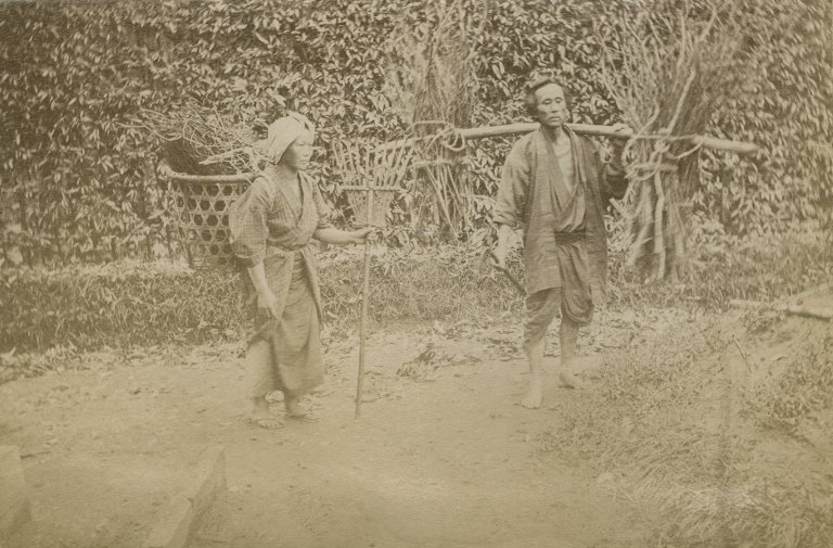 Japanese man and woman working.