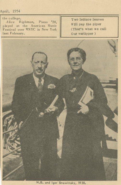 Photograph of Nadia Boulanger and Igor Stravinsky.