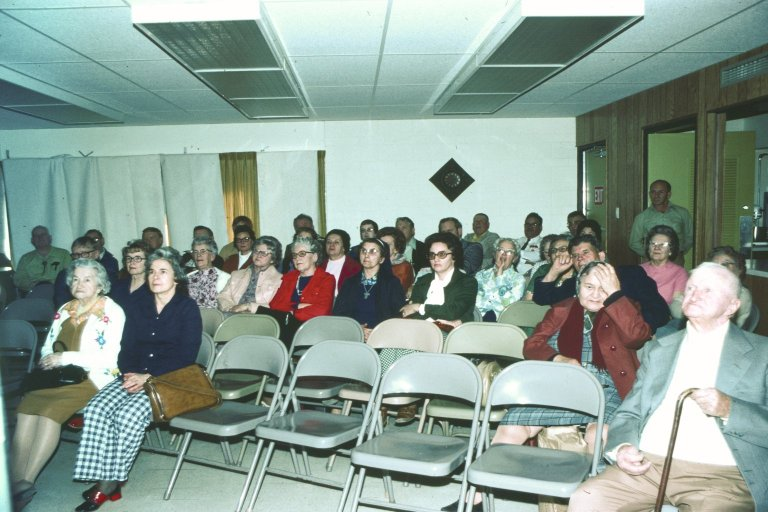 An audience of mostly women