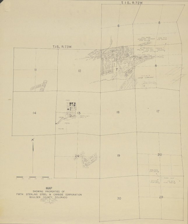 Map Showing Properties of Firth Sterling Steel and Carbide Corporation