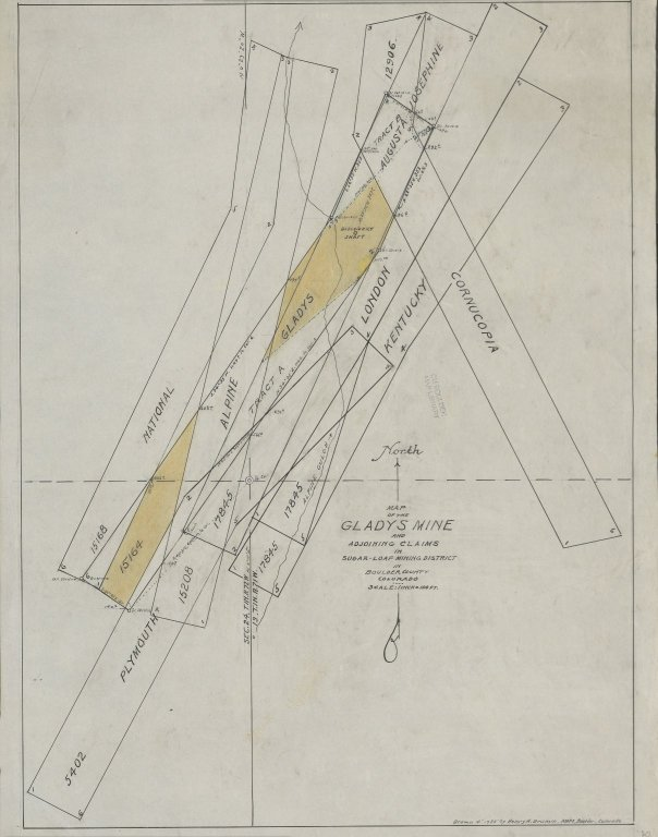 Map of the Gladys Mine and Adjoining Claims
