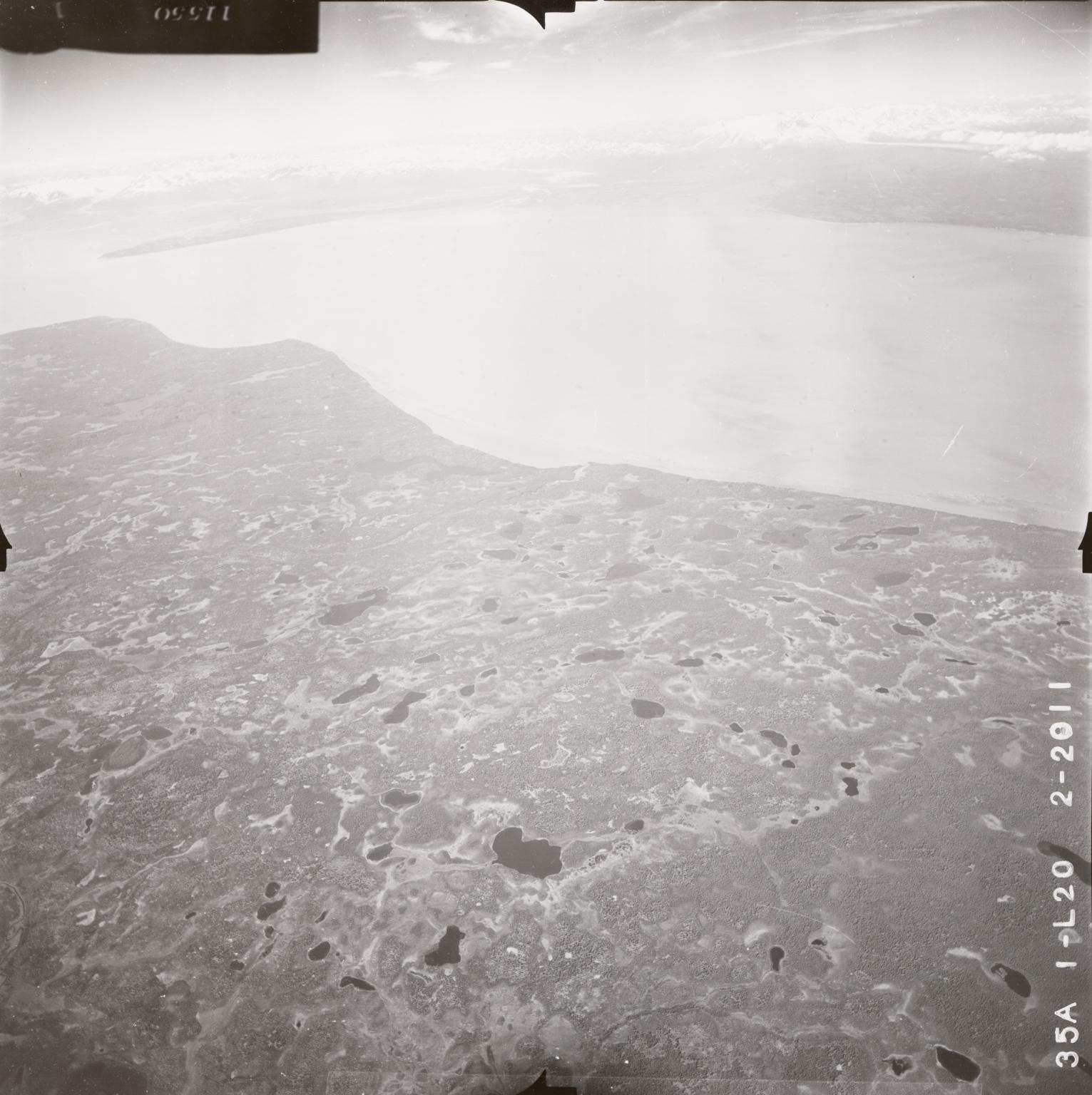 No glacier near Mount Spurr, aerial photograph FL64, Alaska, United States