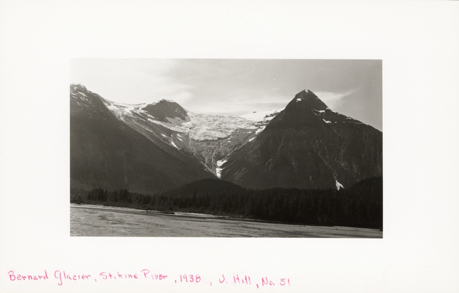 "Unknown glacier, ""Bernard Glacier"", likely on the United States-Canada border"