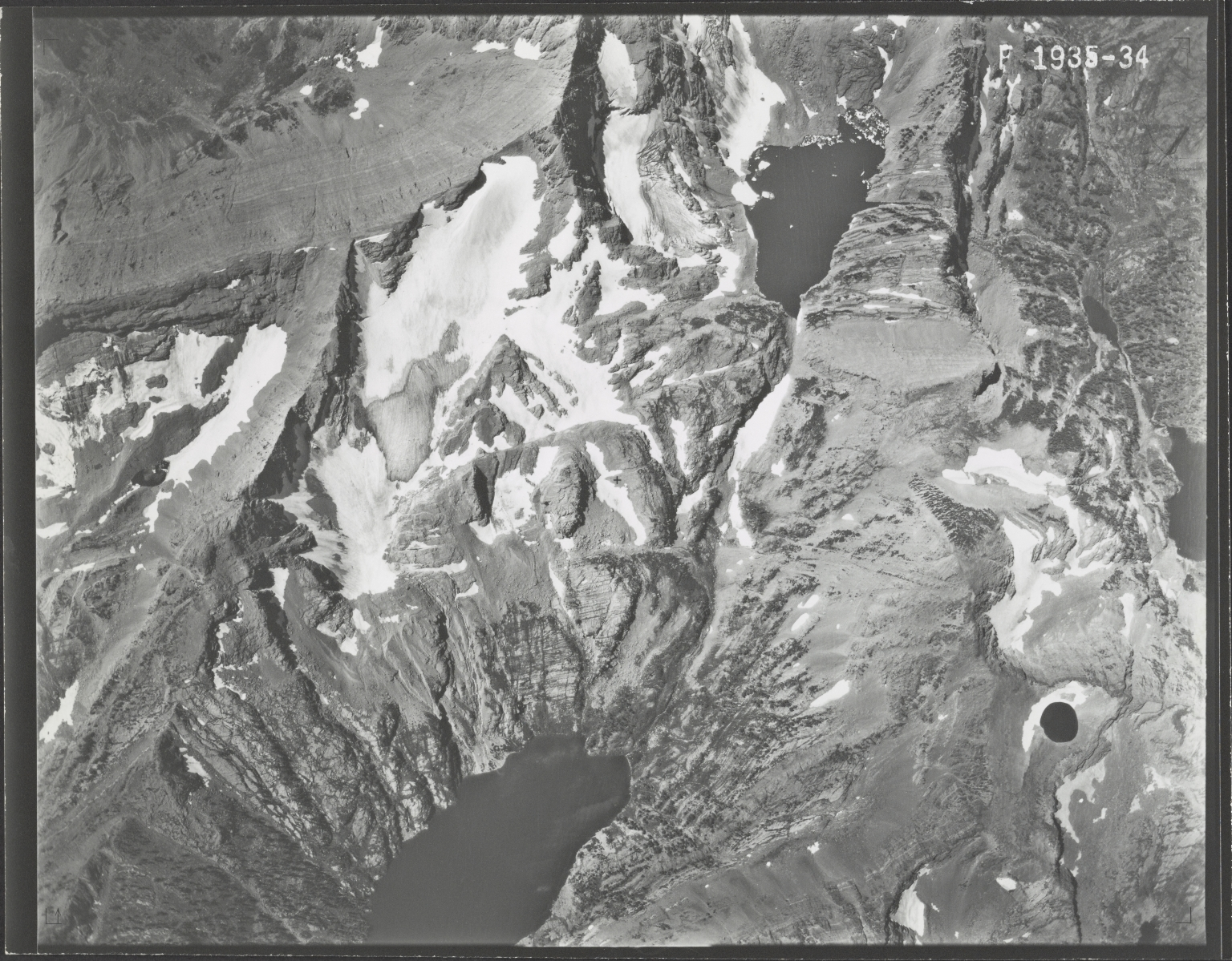 Glacier in Mission Range, aerial photograph F 1935-34, Montana