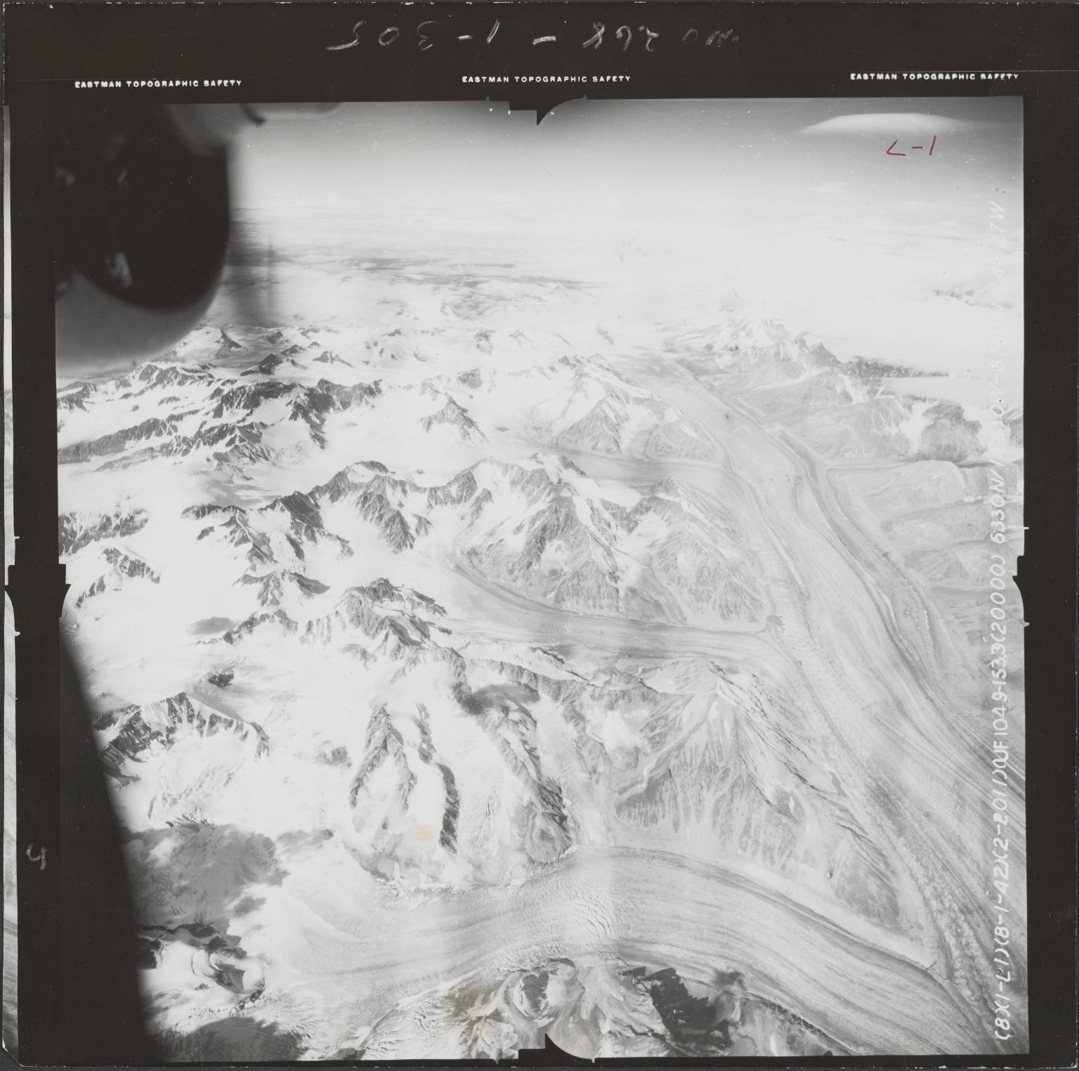 Black Rapids Glacier, aerial photograph FL 55 L-1, Alaska