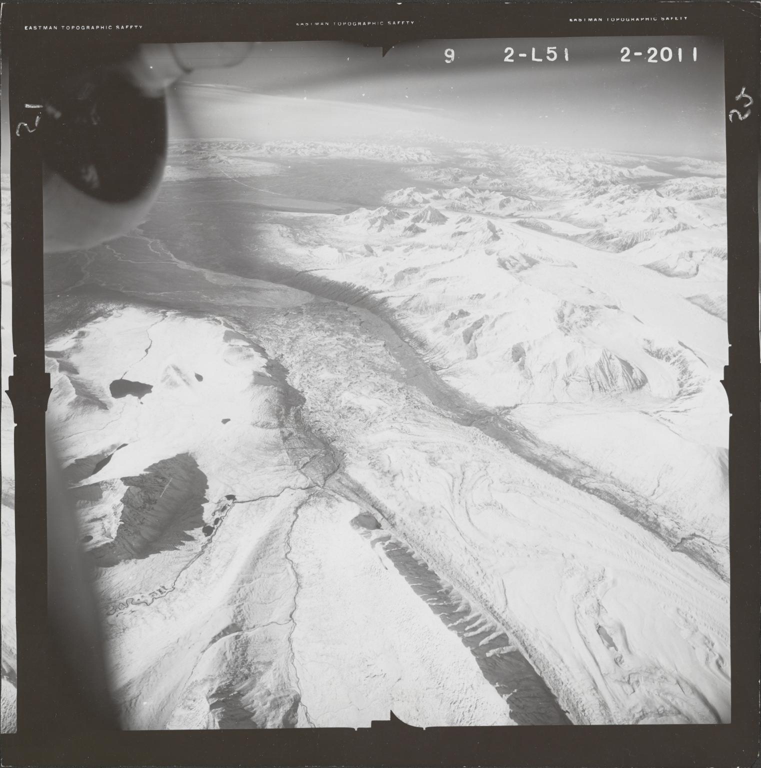 Susitna Glacier, aerial photograph FL 80 L-51, Alaska