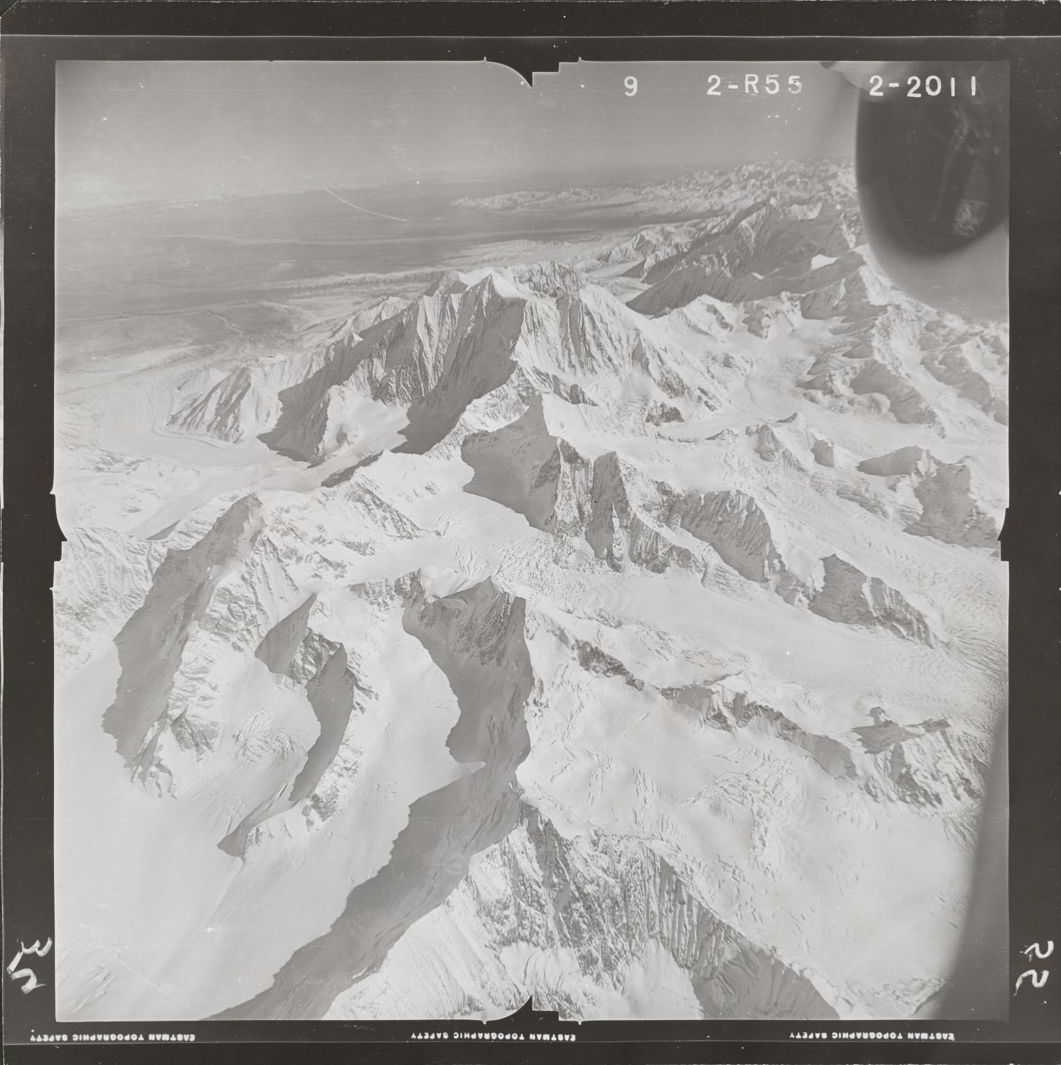 Hayes Glacier, aerial photograph FL 80 R-55, Alaska