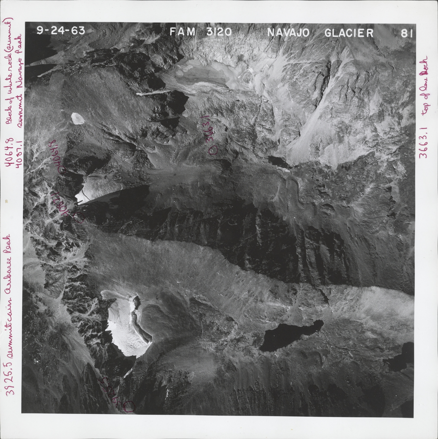 Navajo Glacier, aerial photograph FAM 3120 81, Colorado