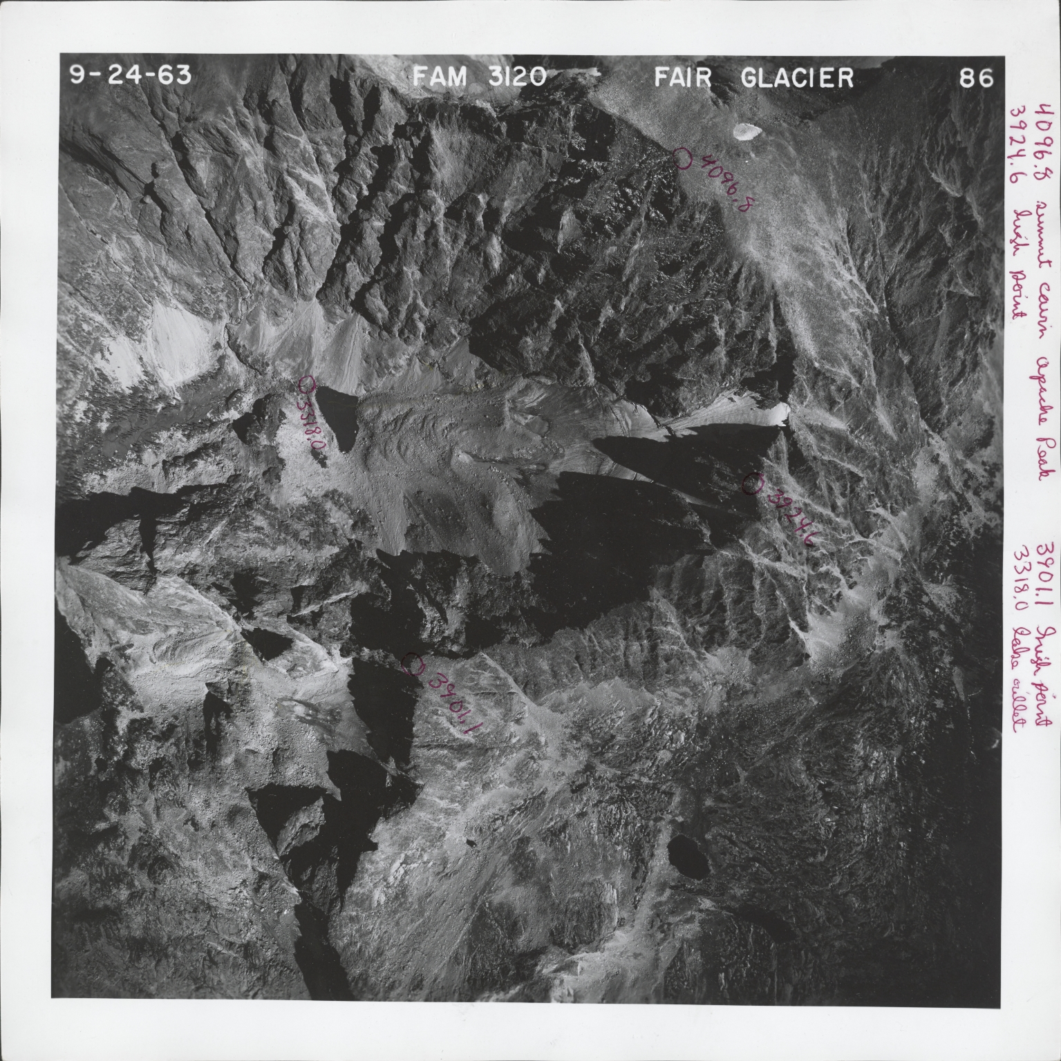 Fair Glacier, aerial photograph FAM 3120 86, Colorado