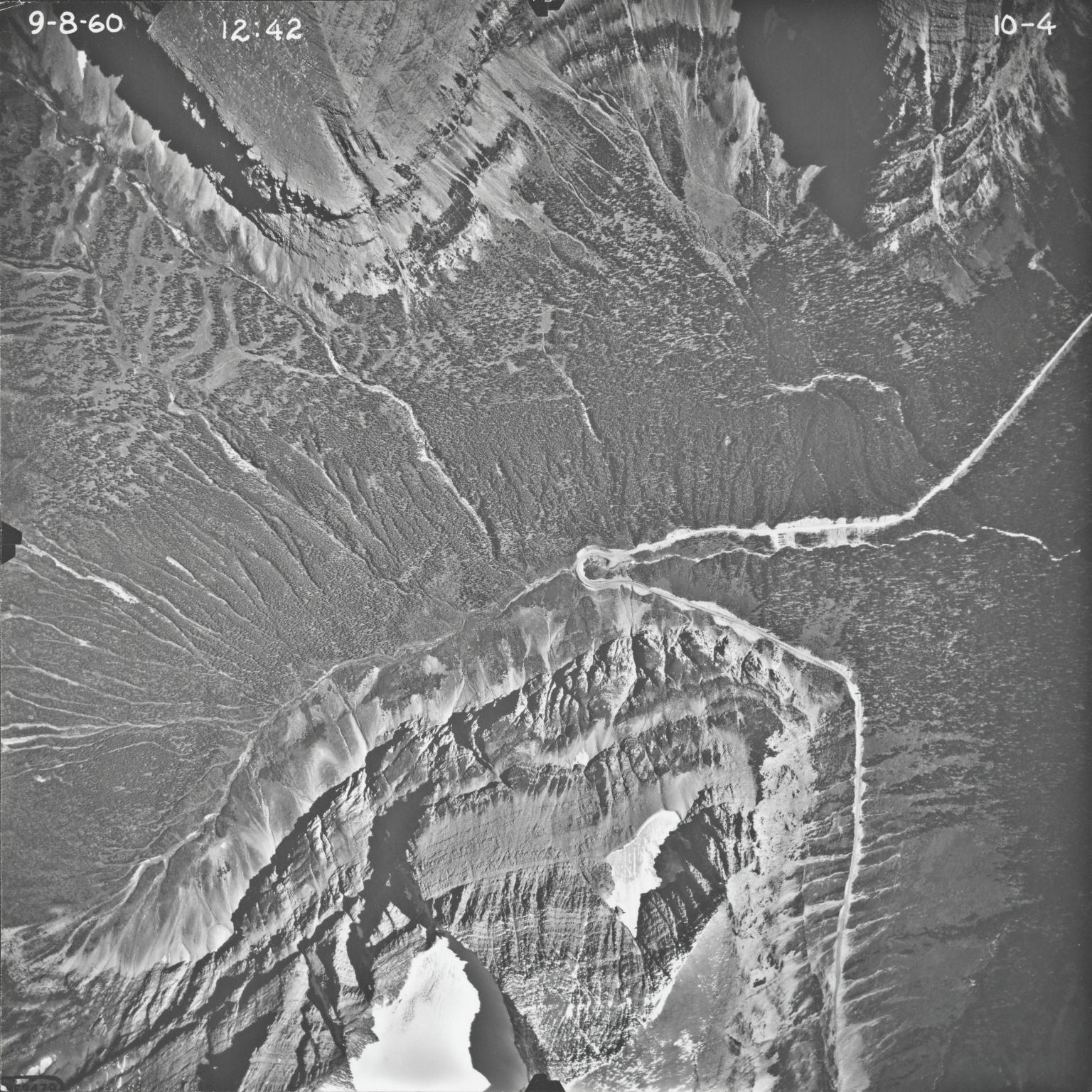 Piegan Glacier, aerial photograph 10-4, Montana