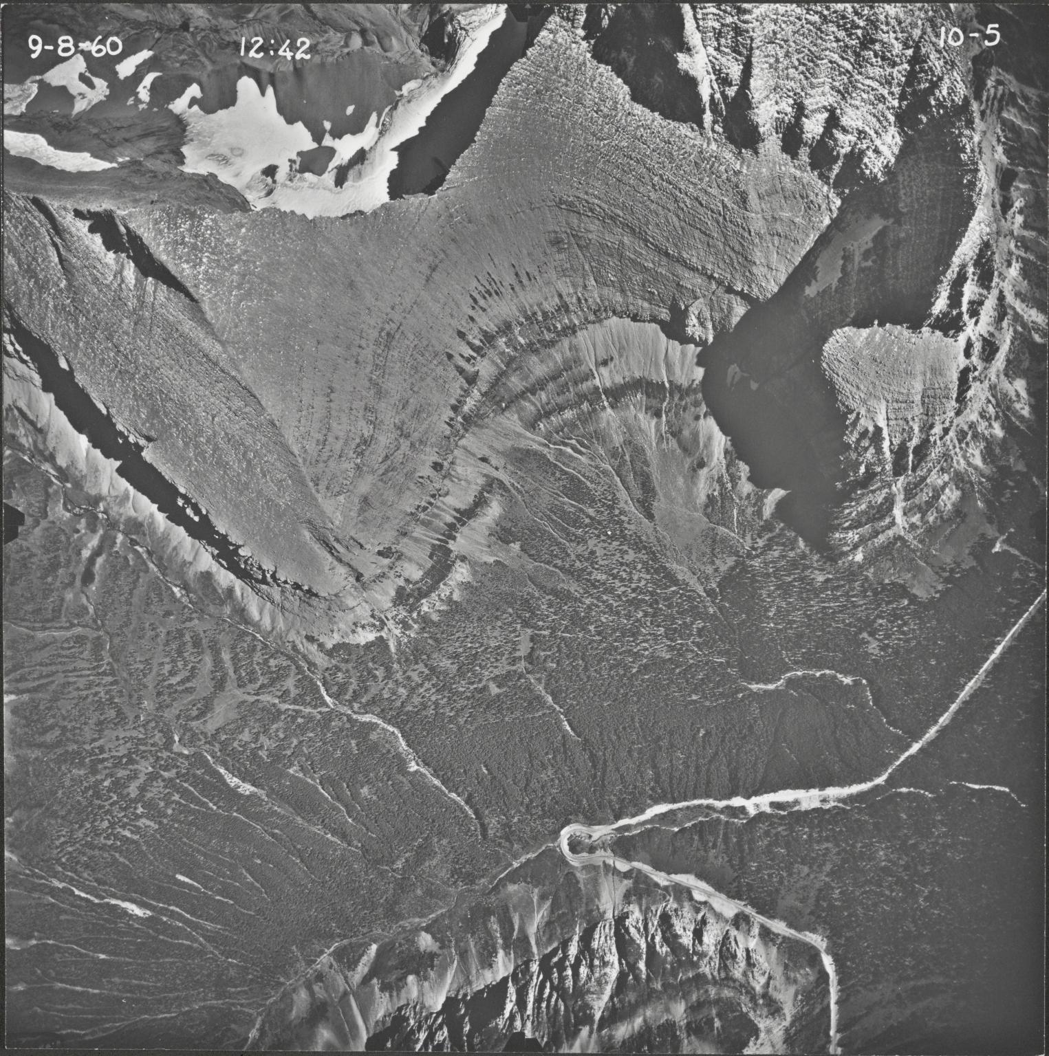 Piegan Glacier, aerial photograph 10-5, Montana