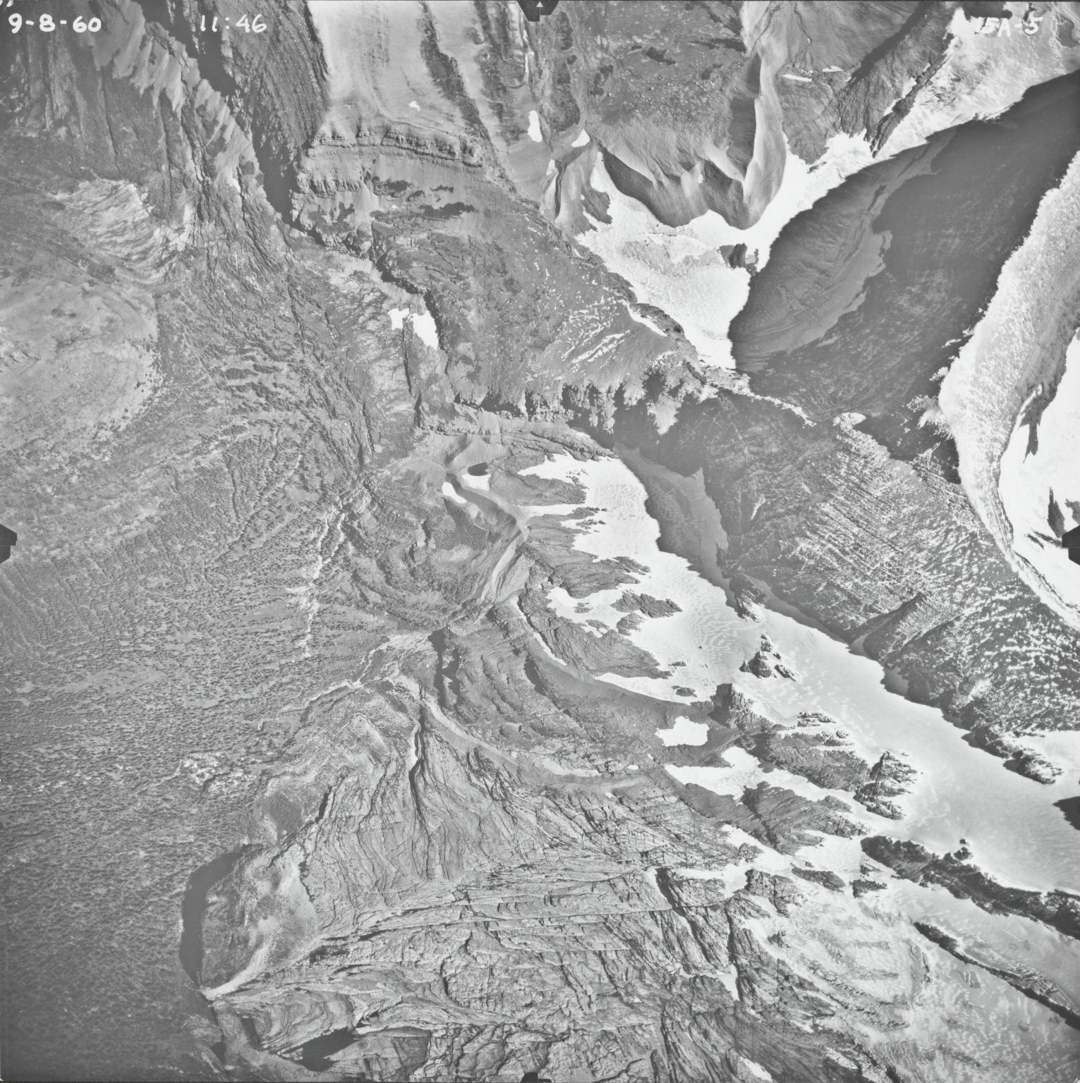 Logan Glacier, aerial photograph FL15A-5, Montana