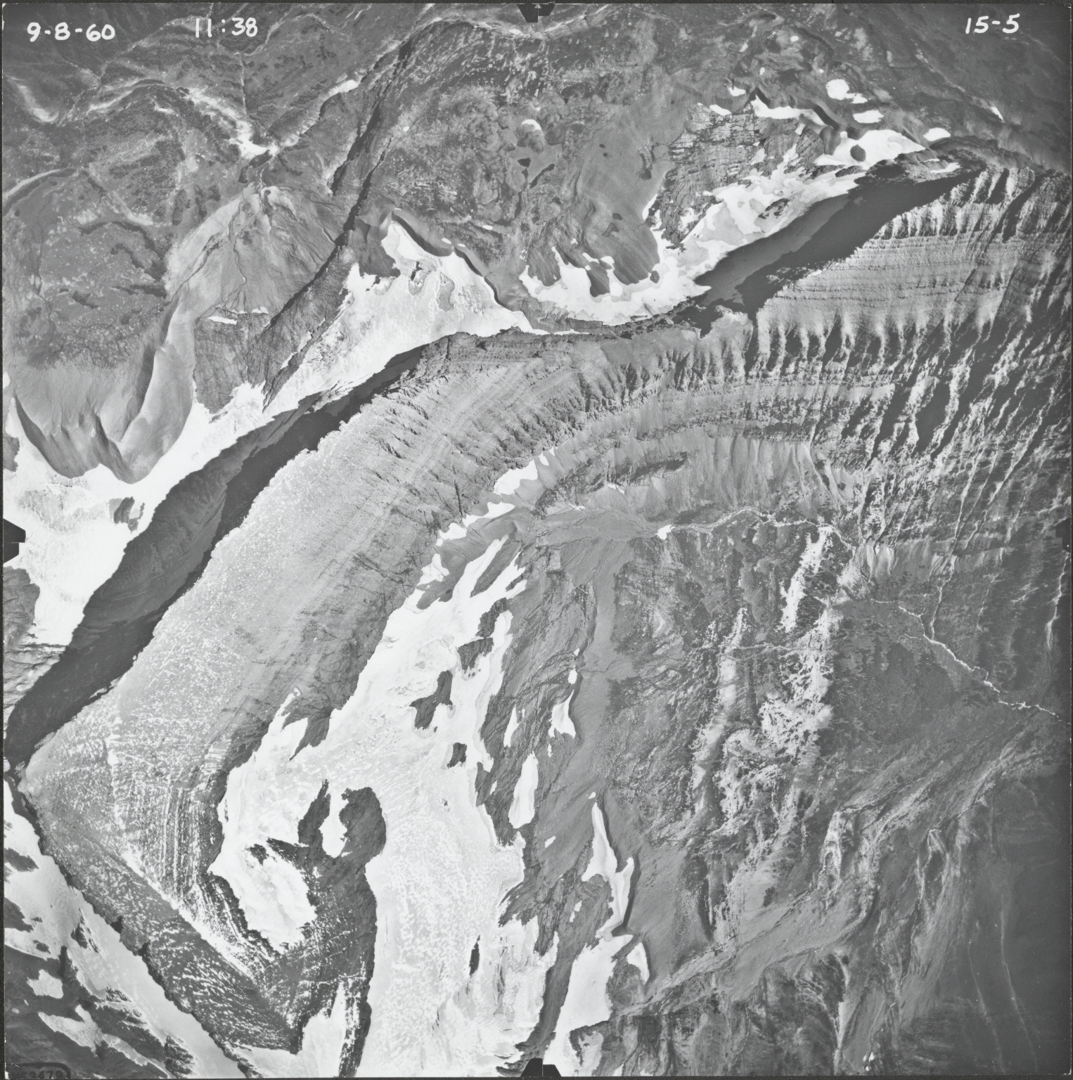 Logan Glacier, aerial photograph FL15-5, Montana