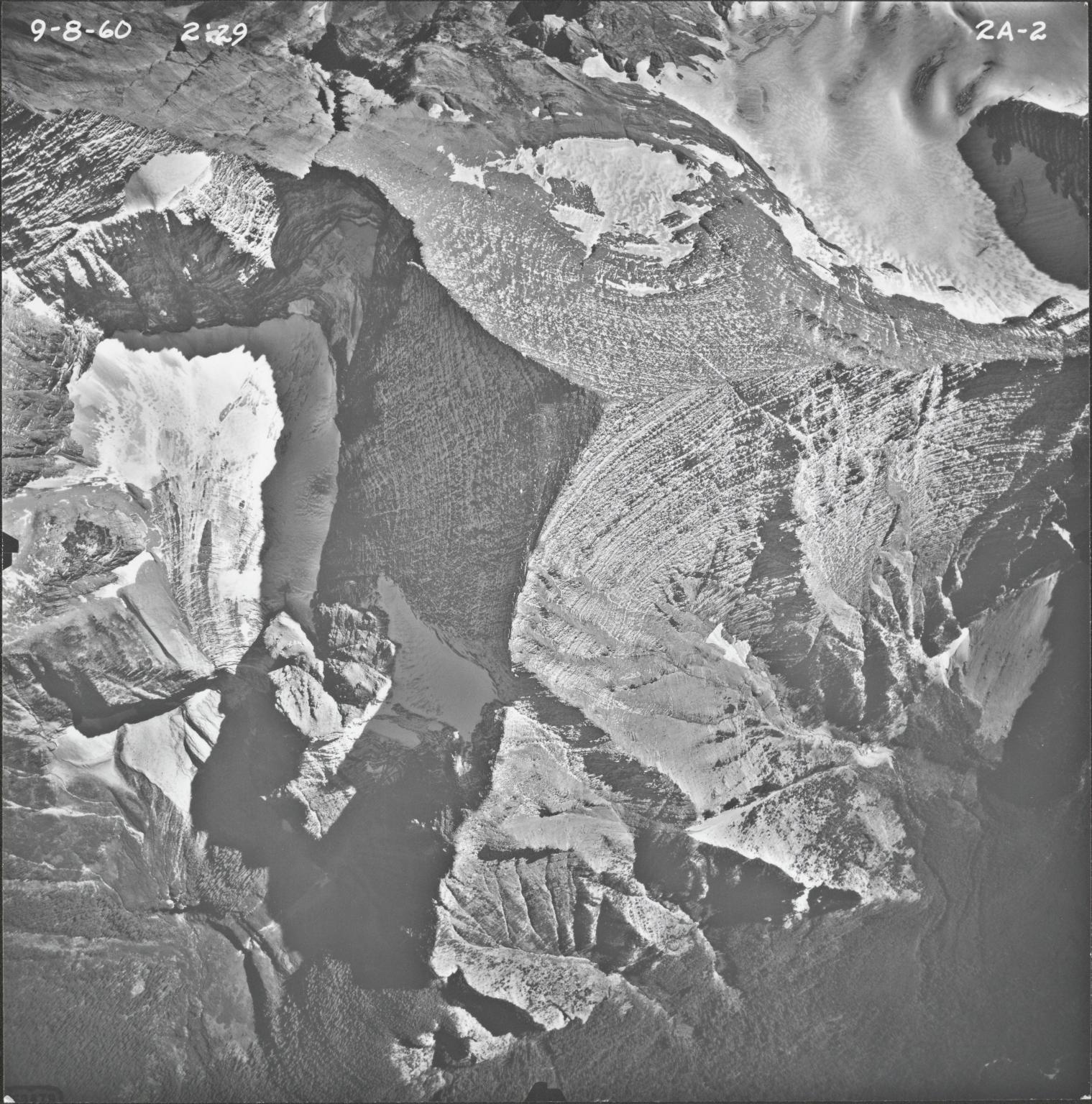 Rainbow Glacier, aerial photograph FL2A-2, Montana