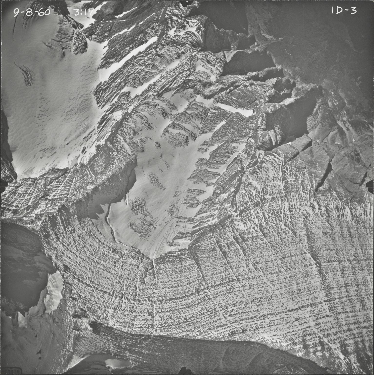 Kintla Glacier, aerial photograph FL ID-3, Montana
