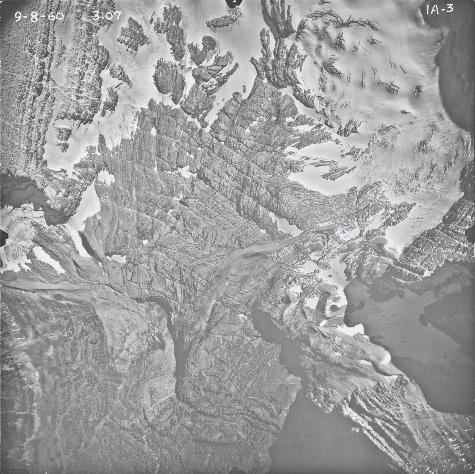 Agassiz Glacier, aerial photograph IA-3, Montana