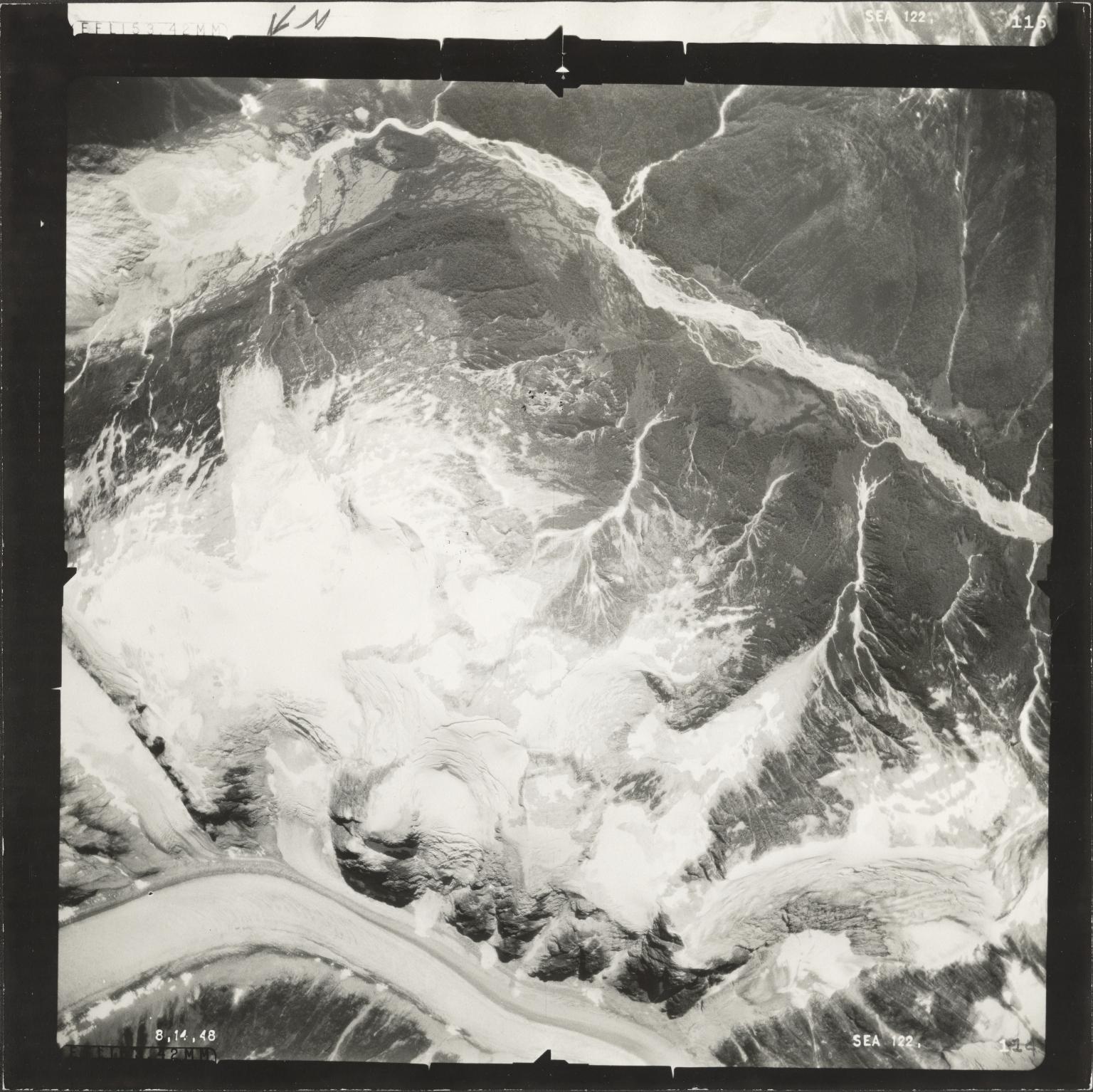 Chickamin Glacier, aerial photograph SEA 122-114, Alaska