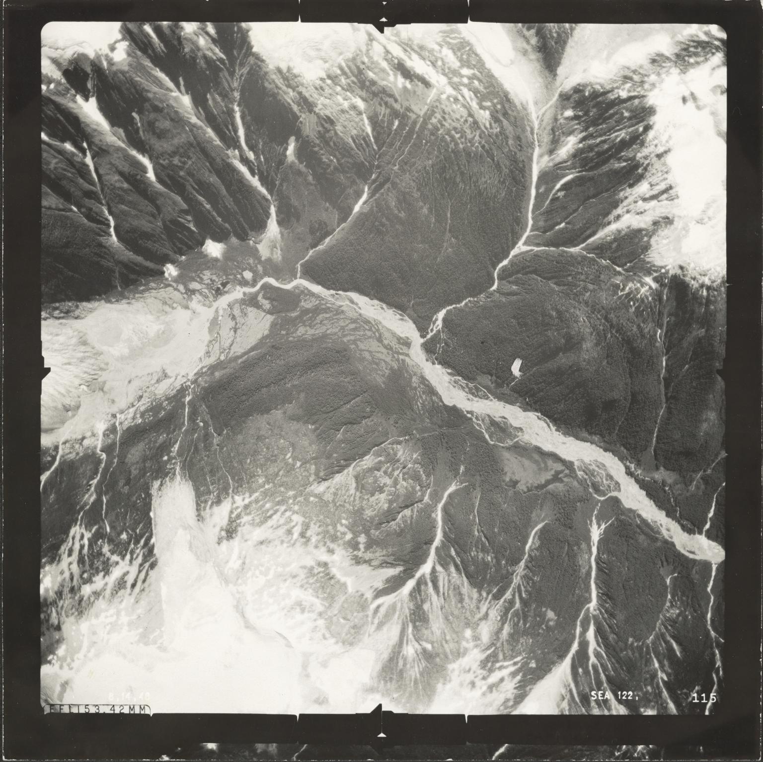 Chickamin Glacier, aerial photograph SEA 122-115, Alaska