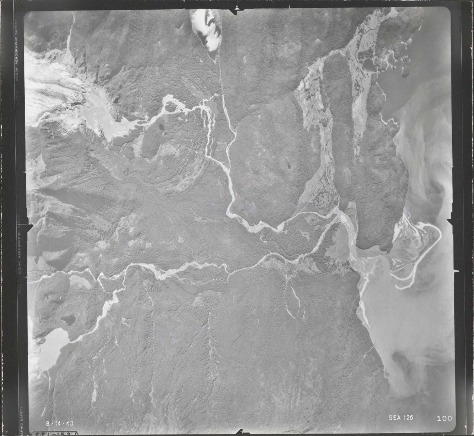 Herbert Glacier and Eagle Glacier, aerial photograph SEA 126 100, Alaska