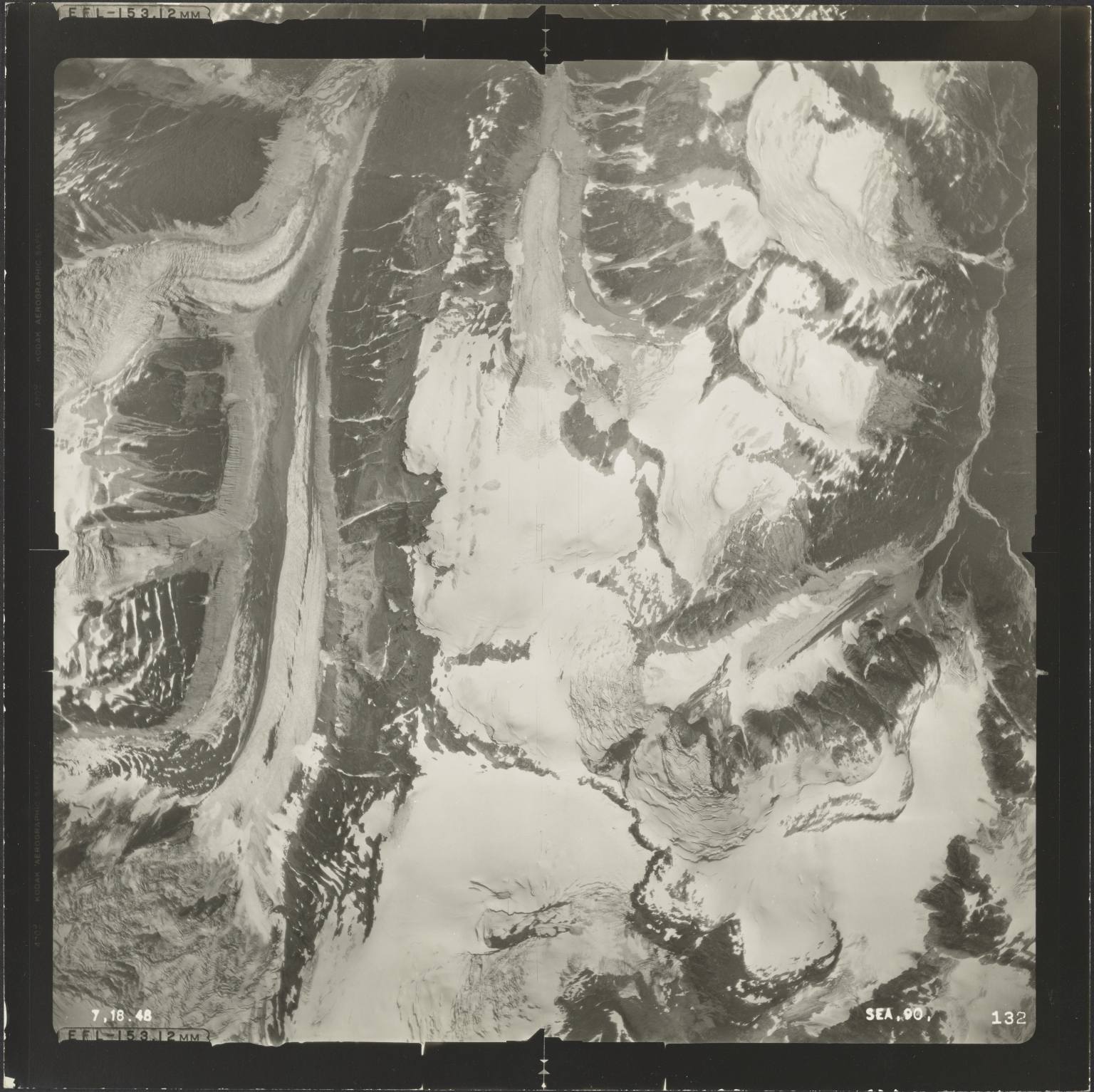 Unknown glaciers of Jekill River, aerial photograph SEA 90 132, British Columbia
