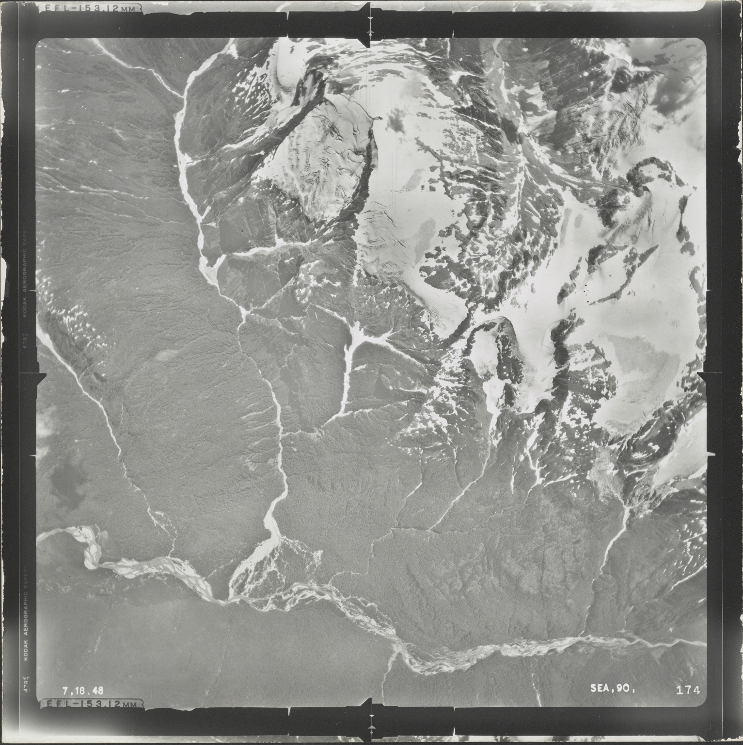 Unknown glacier in Mount Ponder/Mount Fawcett area, aerial photograph SEA 90 174, Alaska