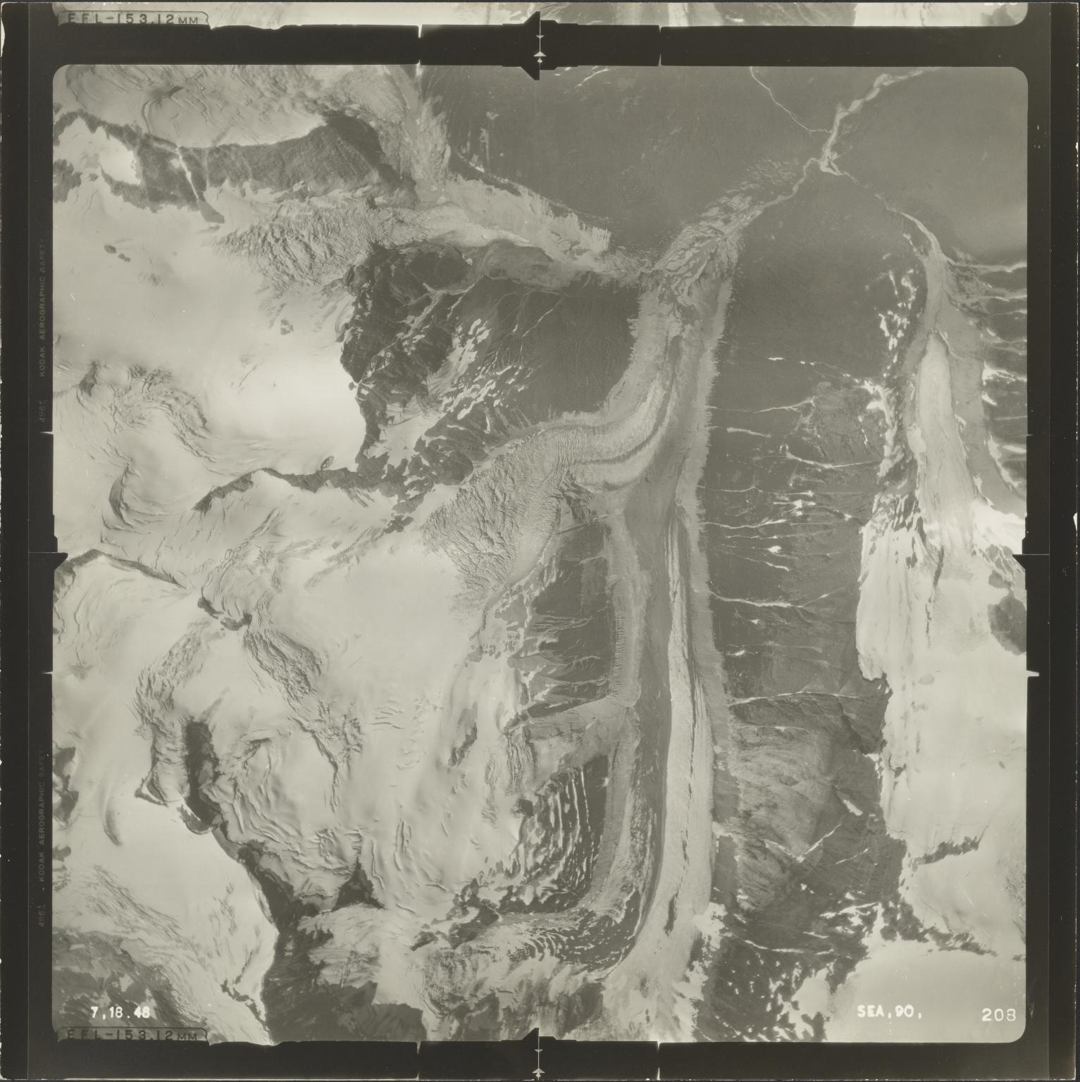 Glacier at head of Jekill River, aerial photograph SEA 90 208, British Columbia