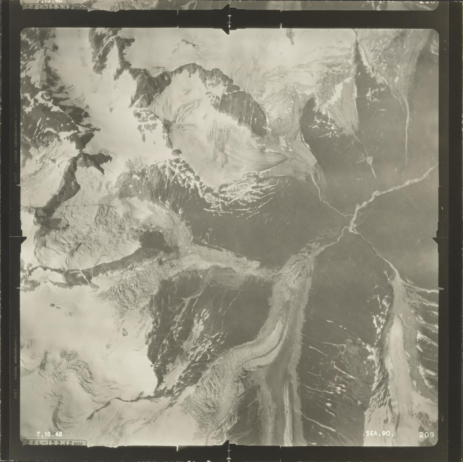 Glacier at head of Jekill River, aerial photograph SEA 90 209, British Columbia