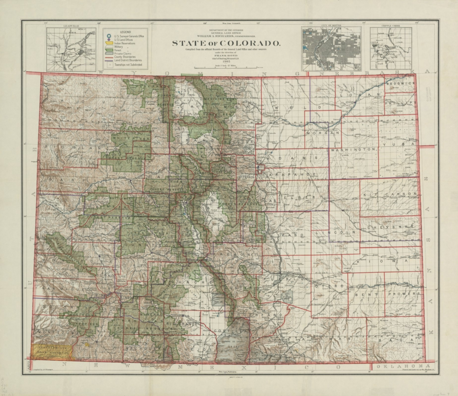 State of Colorado, compiled from the official records of the General Land Office and other sources under the direction of Frank Bond