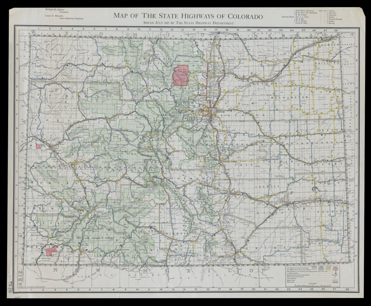 Map of the state highways of Colorado