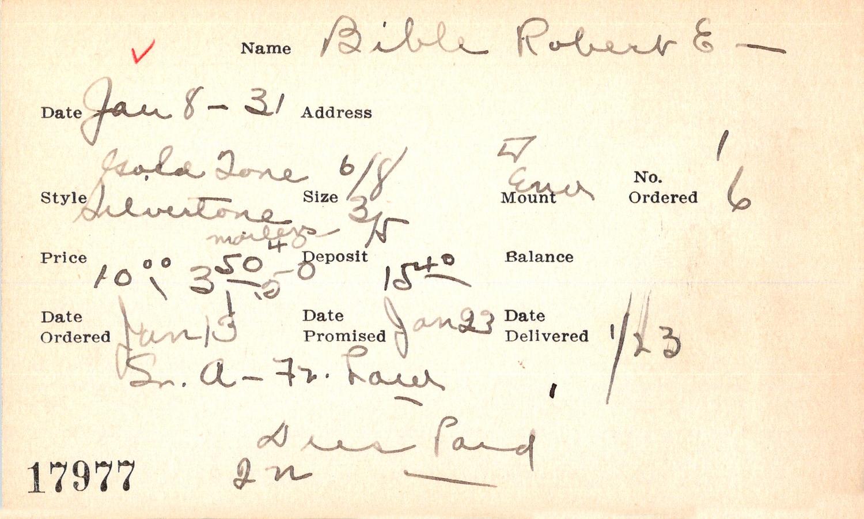 Index card for Robert E. Bible