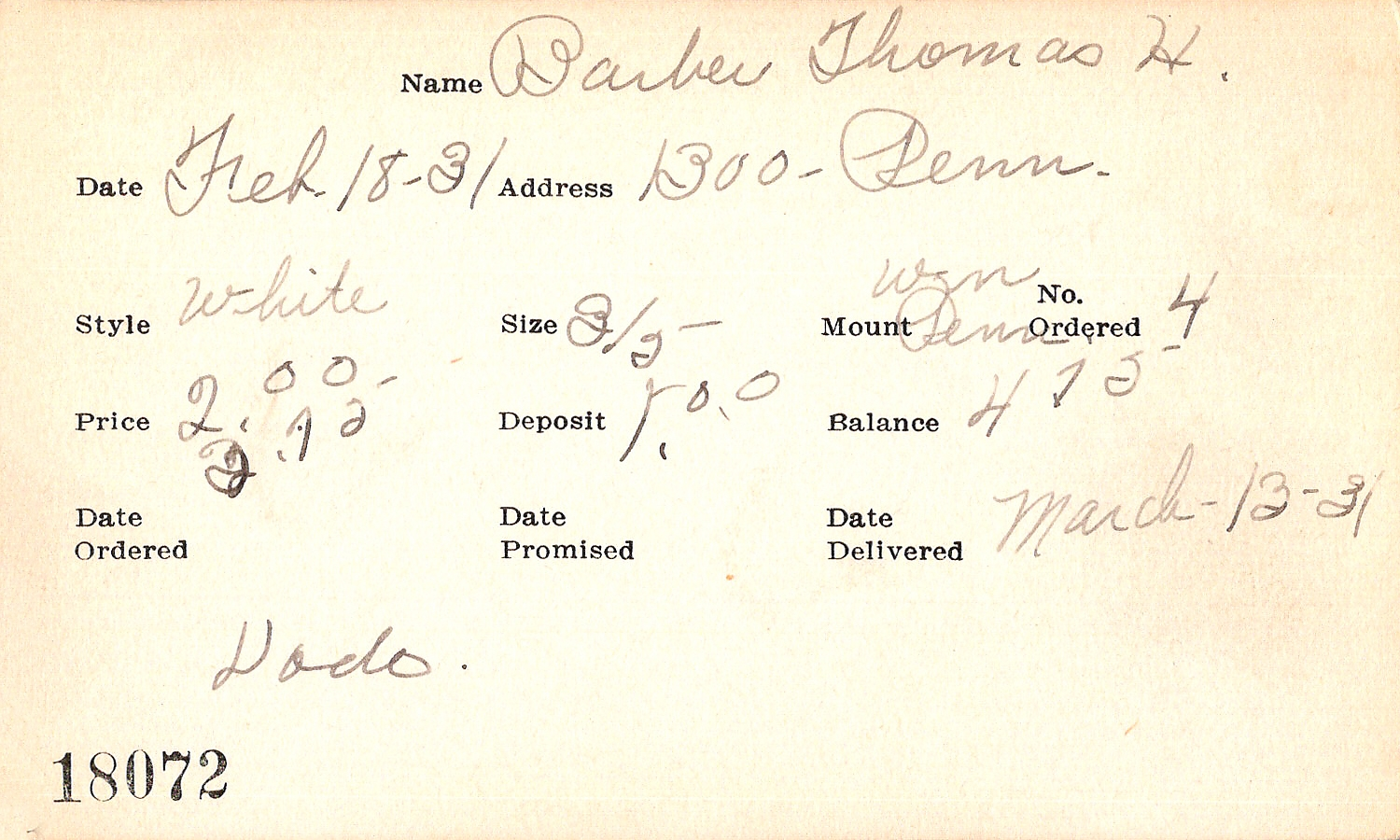 Index card for Thomas H. Barber