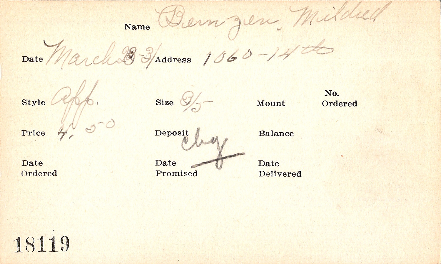 Index card for Mildred Bernzen