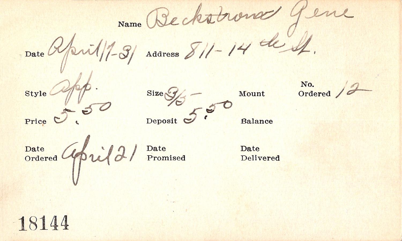 Index card for Gene Beckstrom