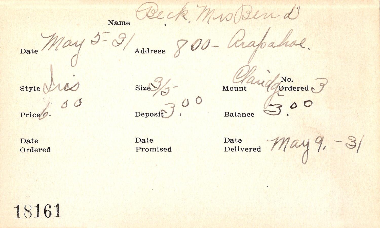 Index card for Mrs. Ben D. Beckstrom