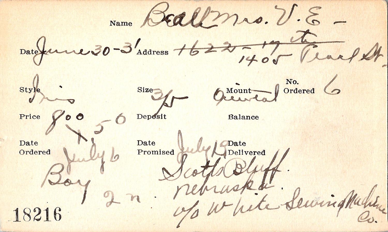 Index card for Mrs. V. E. Beall