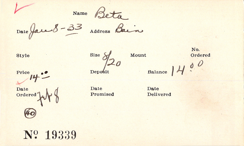 Index card for Beta Theta Pi