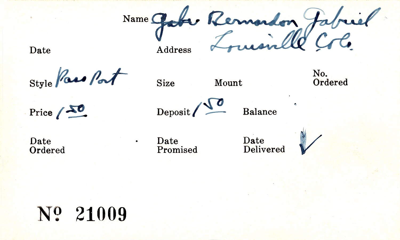 Index card for Gabriel Bernardon