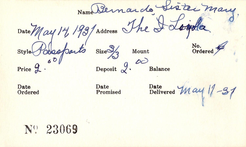 Index card for Mrs. C. J. Barker