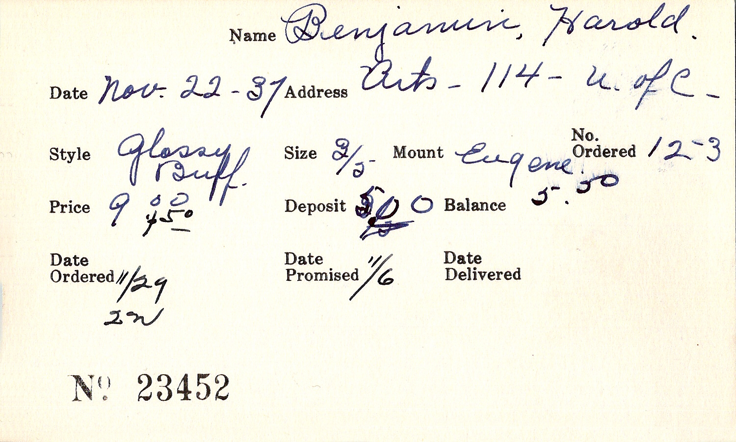 Index card for Harold Benjamin