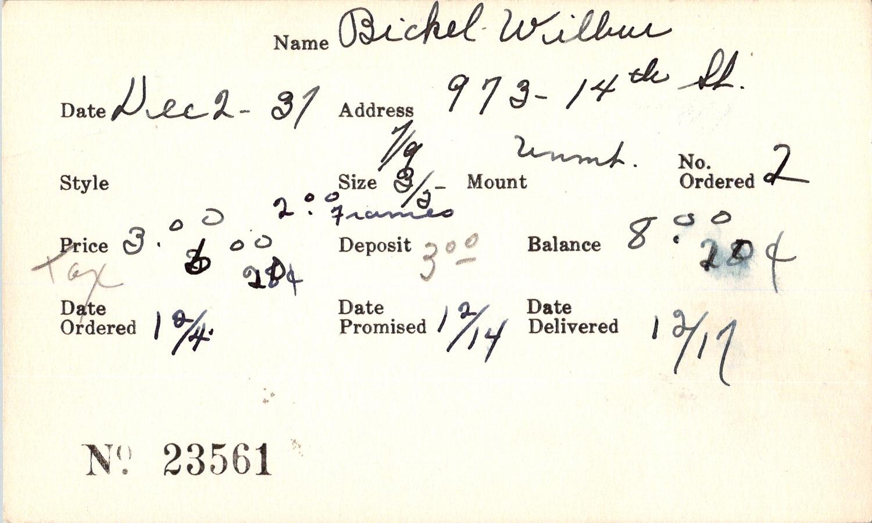 Index card for Wilbur Bickel