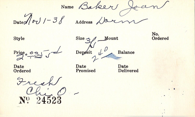 Index card for Joan Baker