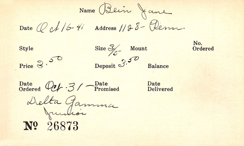 Index card for Jane Bein
