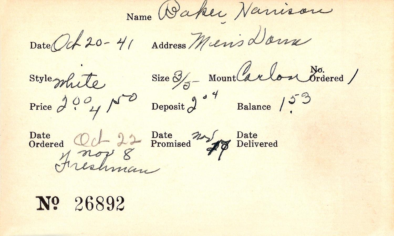 Index card for Harrison Baker