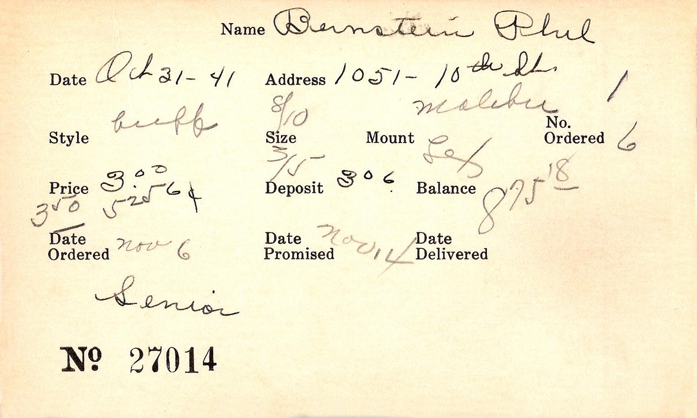 Index card for Phil Bernstein