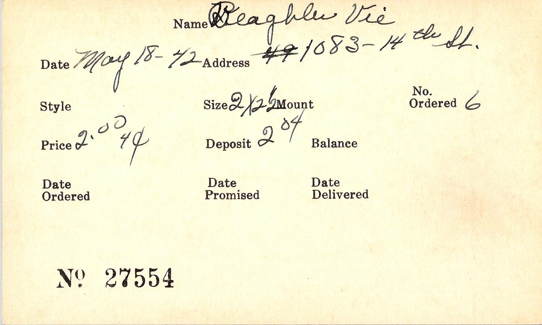 Index card for Vie Beaghler